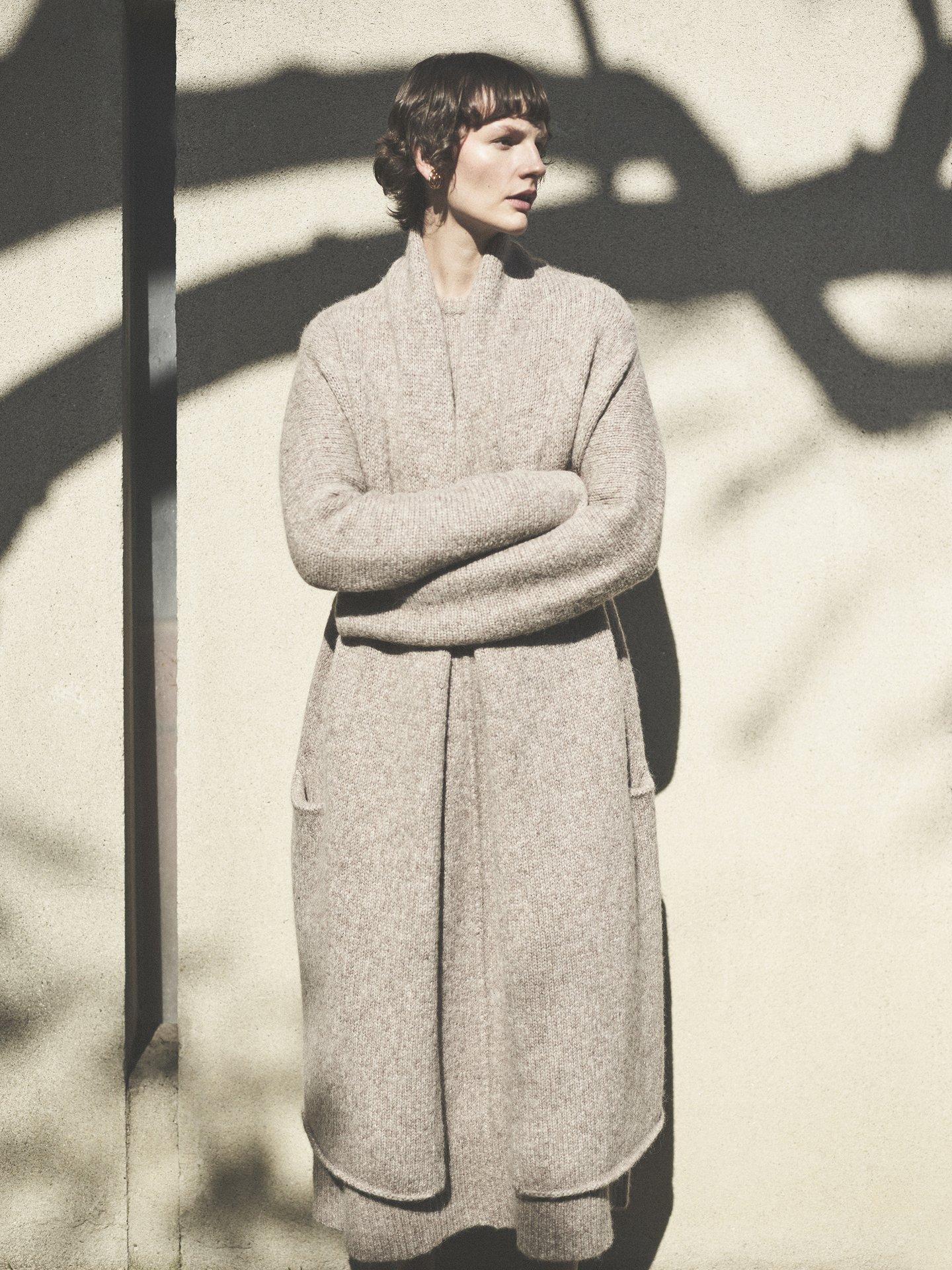 Co Long Sleeve Open Sweater in Alpaca