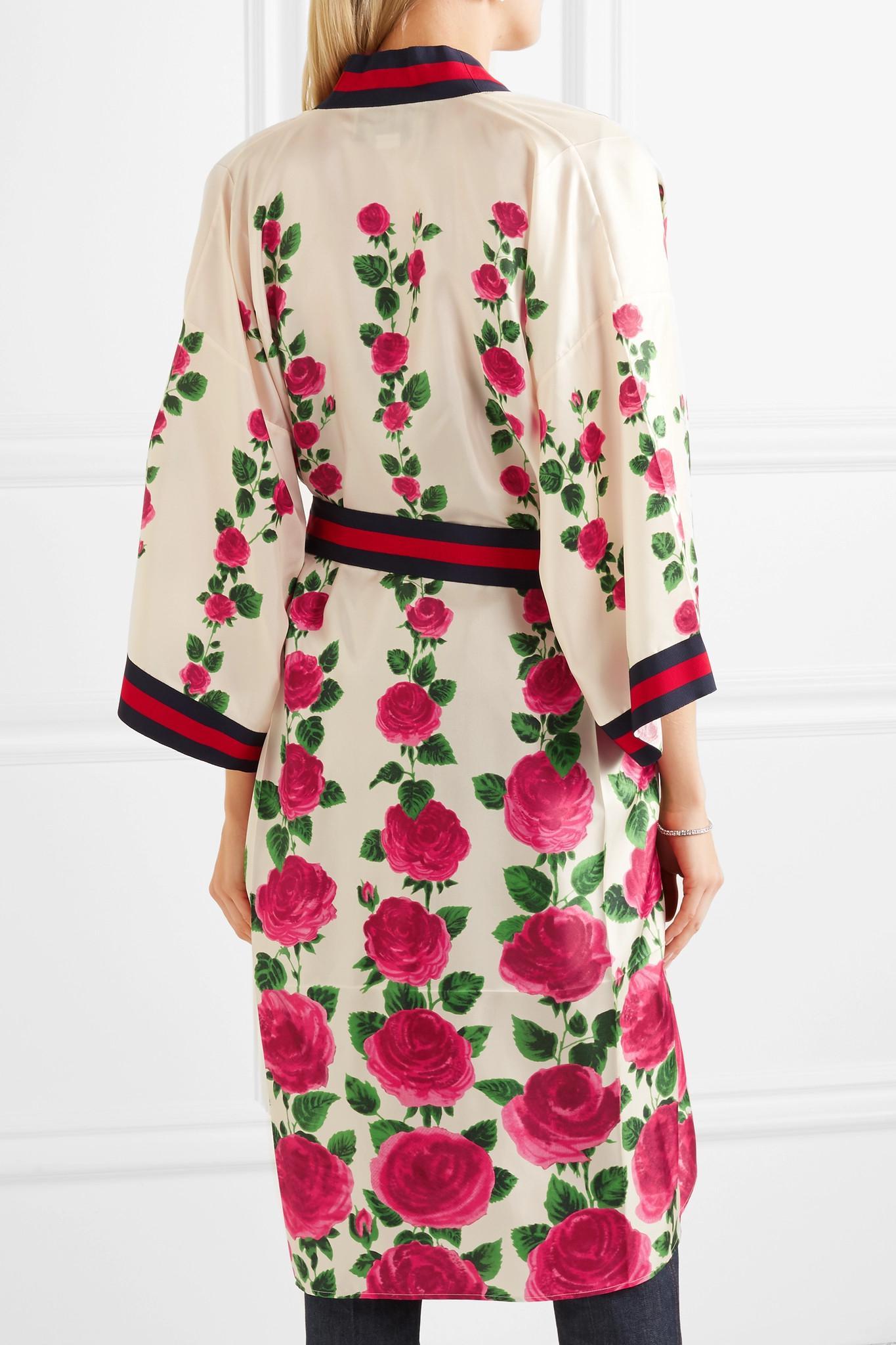 gucci-pink-Le-Jardin-De-Rose-Grosgrain-trimmed-Printed-Silk-twill-Robe back view