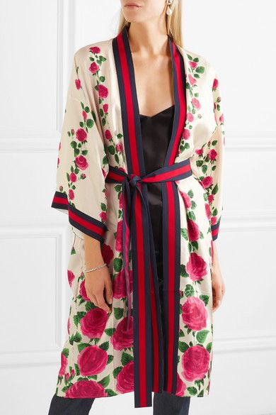 GucciPink Le Jardin de Rose grosgrain-trimmed printed silk-twill robe