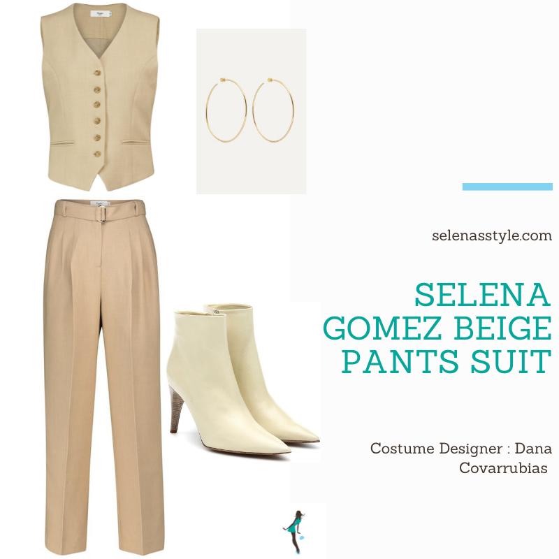 Where to get Selena Gomez outfits December 2020 blog beige pants suit white turtleneck white boots gold hoops on the set of Only Murders In The Building