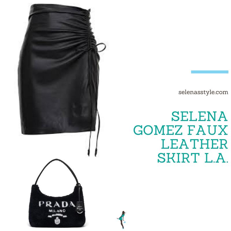 Where to get Selena Gomez outfits September 2021 blog faux black leather skirt with spit black satin pumps black Prada bag black roll neck