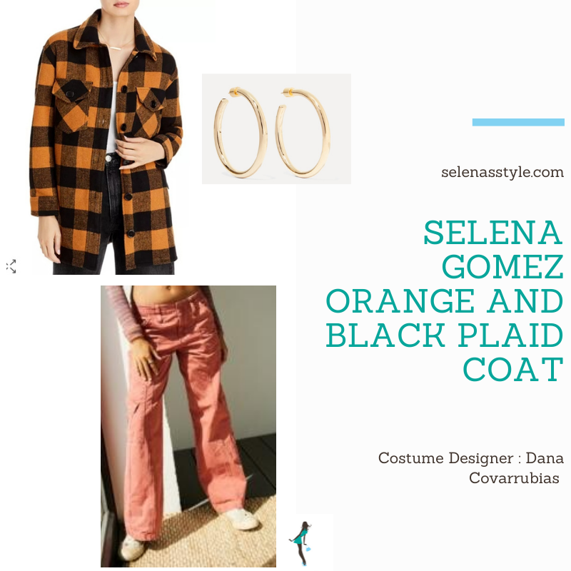 Where to get Selena Gomez outfits December 2020 blog red cargo pants orange and black coat gold hopp earrings on the set of Only Murders In The Building