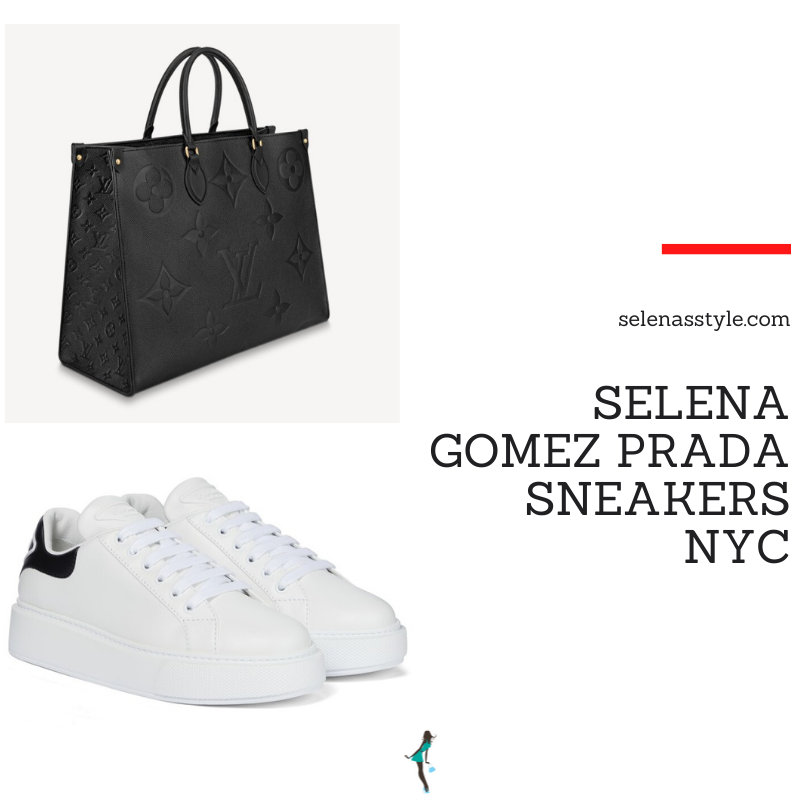 Where to get Selena Gomez outfits September 2021 blog white trainers black Louis Vuitton tote New York black cashmere sweatsuit