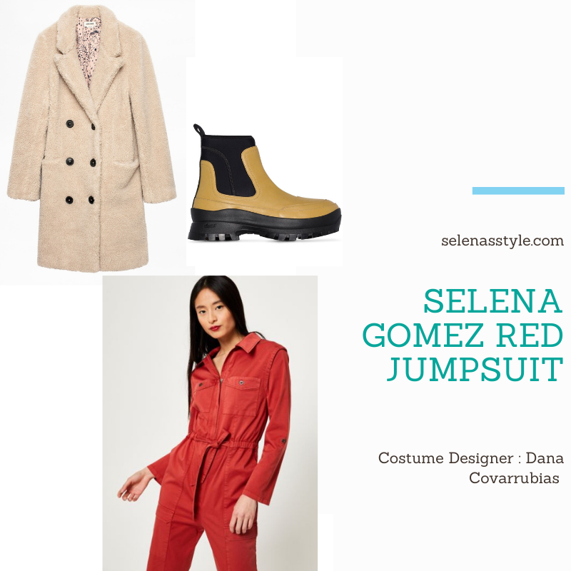 Where to get Selena Gomez outfits December 2020 blog red jumpsuit beige coat green chelsea boots on the set of Only Murders In The Building