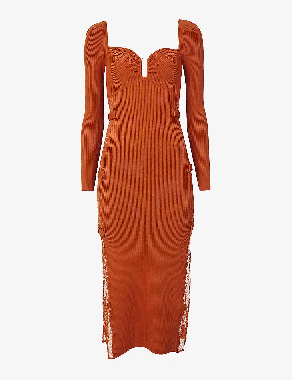 Self Portait Sweetheart-neckline stretch-knit midi dress