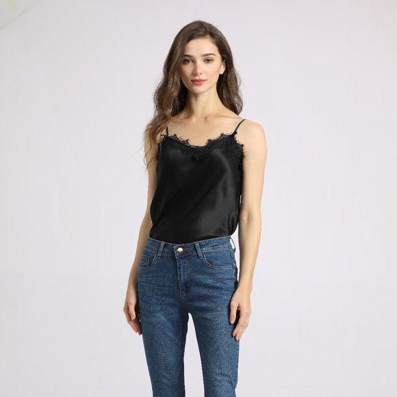 Silk & Stitch Black Silk Lace Camisole Top