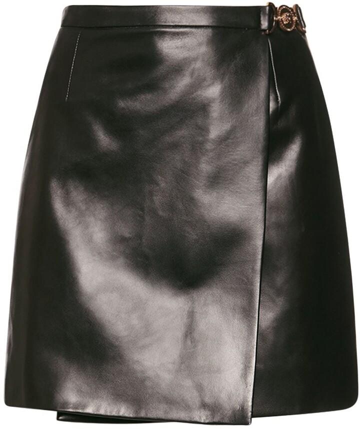 Versace Medusa Wrap Leather Mini Skirt