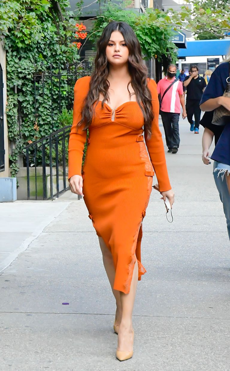 where to get all Selena Gomez dresses burnt orange knit dress beige pumps Late Show with Seth Gilber 8 Spetember 2021 Photo Raymond Hall Getty Images