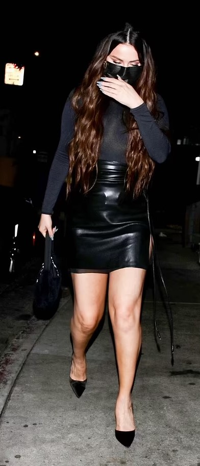 where to get all Selena Gomez outfits black leather skirt black court shoes black polo neck black bag 16 September 2021 Photo HEDO Backgrid