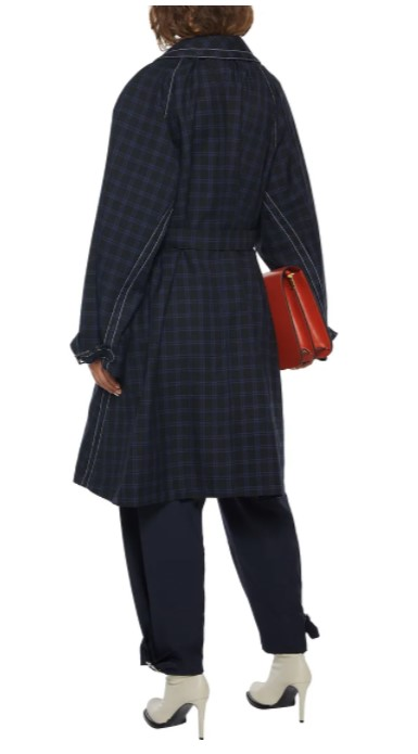 Marni belted checked wool-gabardine coat back view