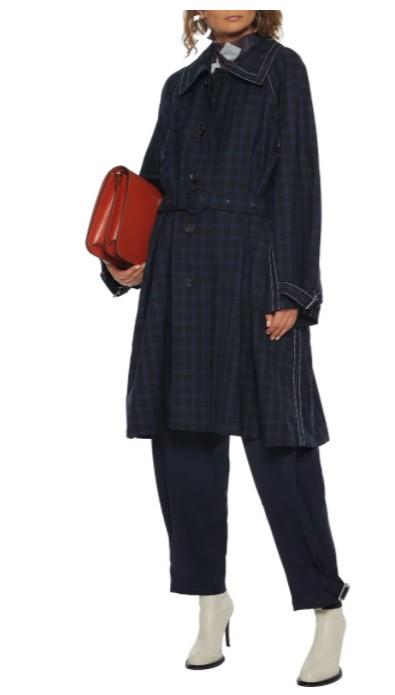 Marni belted checked wool-gabardine coat