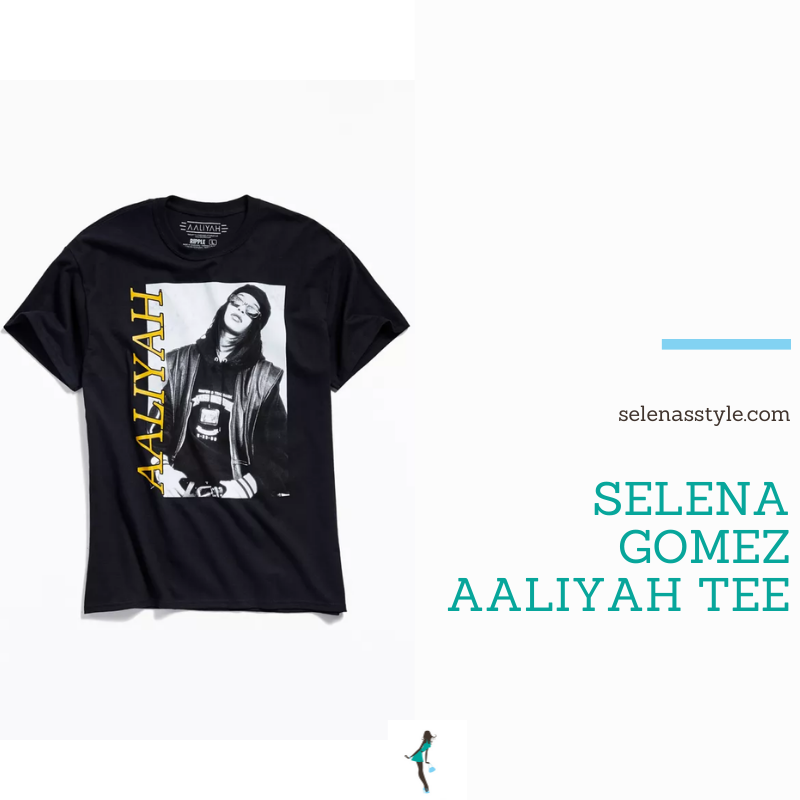 Where to get Selena Gomez outfits October 2021 blog Aaliyah black t-shirt tee