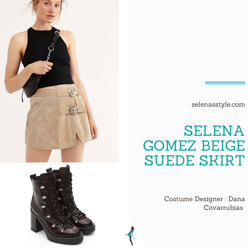 Where to get Selena Gomez outfits December 2020 blog beige suede mini skirt with buckles heeled black biker boots on the set of Only Murders In The Building