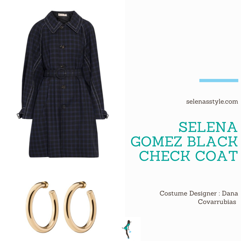 Where to get Selena Gomez outfits April 2021 blog black check coat gold hoops on the set of Only Murders In The Building