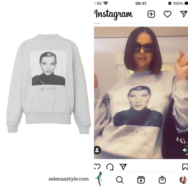 Where to get Selena Gomez outfits October 2021 grey Kate Moss sweatshirt Prada bag