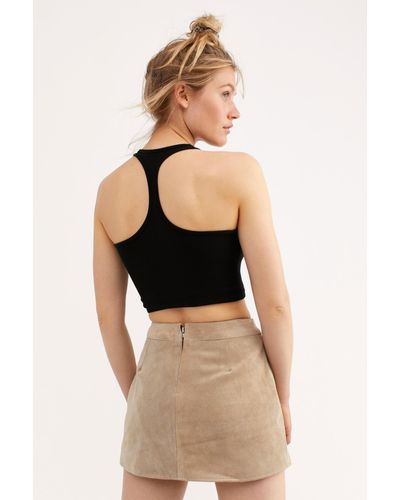Understated Leather Buckle Mini Skirt back view