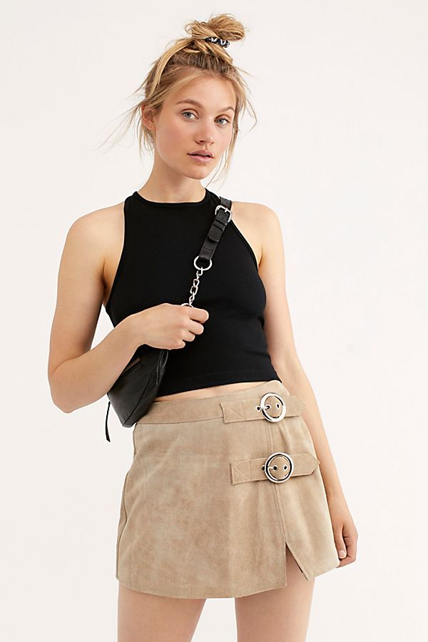 Understated Leather Buckle Mini Skirt